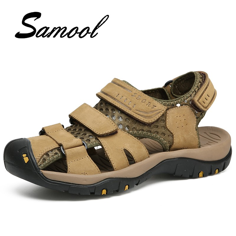 Brand Summer Leather Sandals Men Casual Shoes Sneakers Outdoor Beach Shoes Native Male Rubber Sole Sandals Sport Size 38-44 Gx2
