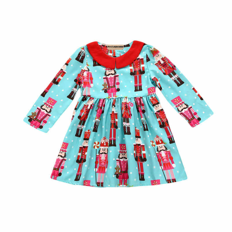 eb4346745559a Hot Toddler Baby Gilrs Cotton Long Sleeve Christmas Snowman Print Dress  Kids Xmas Party Swing Mini