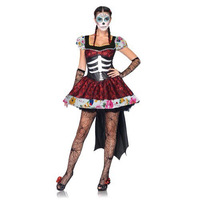 Mexican Day Of The Dead Cosplay Sexy Costumes Halloween Skeleton Vampire Mini Dress Ghost Bride Fancy