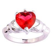 lingmei Love Claddagh Style Heart Jewelry Fashion Women Rings Pink Tourmaline  Silver Ring Size 7 8 9 10 Free Shipping Wholesale