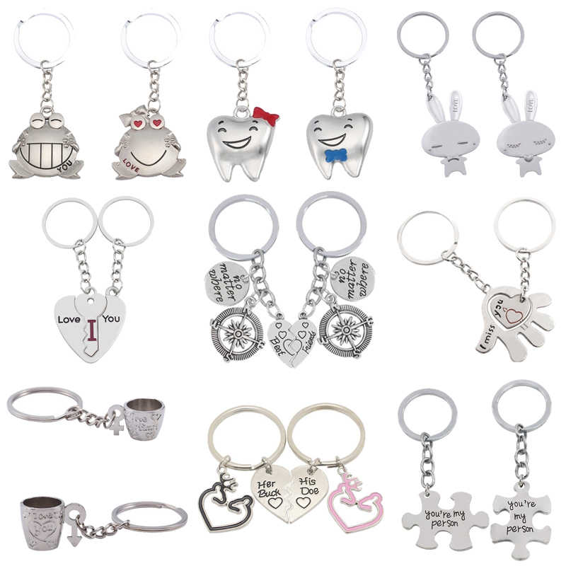 2 Pcs Love Couple Keychain Rabbit Frog Cup Male Ms. Arrow Palm Key Chain Animal Heart Keychain Couple Best Friend Jewelry Gift