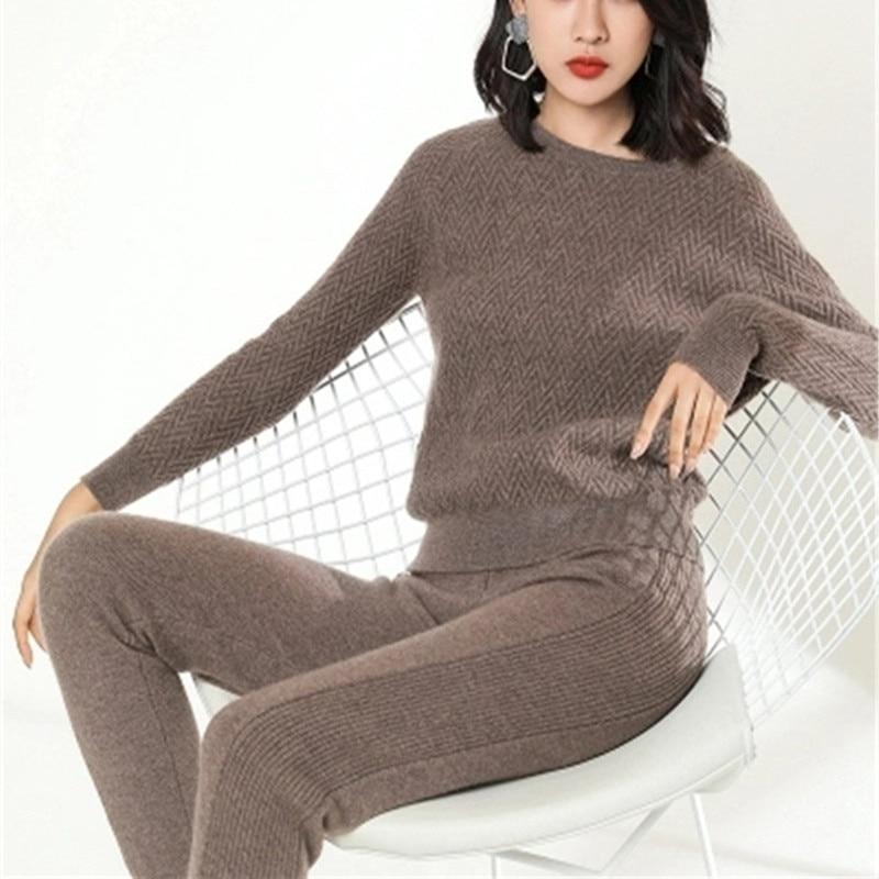 100%goat cashmere twill thick knit women sweatshirts suits Oneck pullover ankle length pants 2pcs/set EUsize M/L/XL