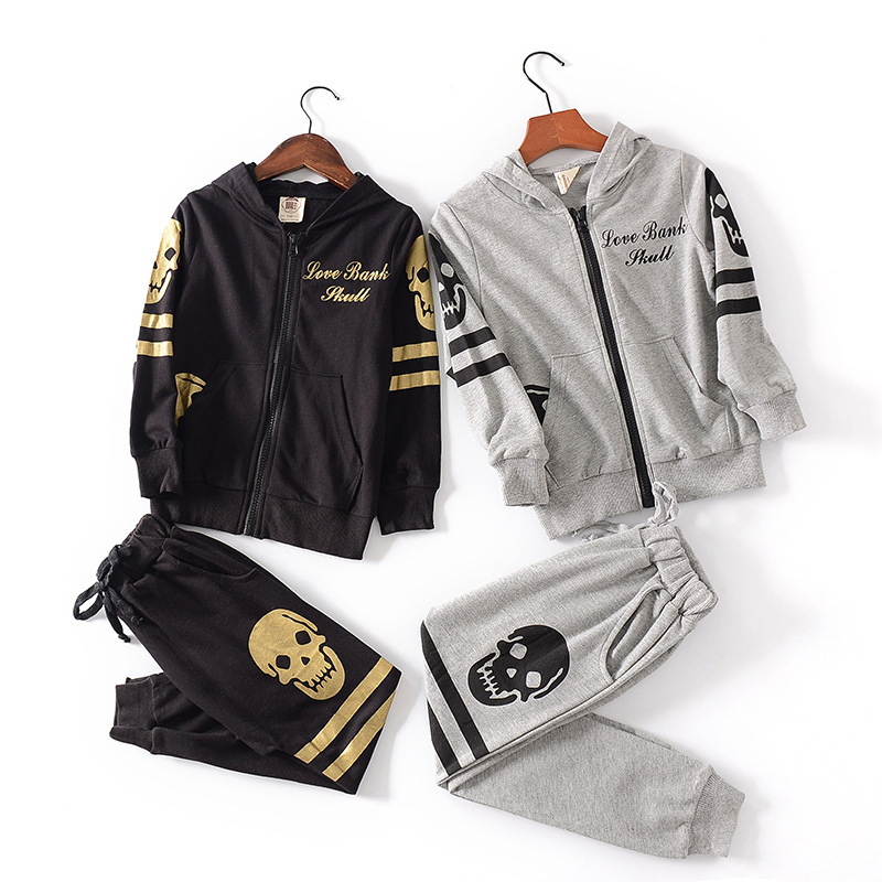 3-10 Age Spring Autumn Boy Skull Printing Long Sleeve Tracksuit Sets Children Casual Sport Suits Kids Zipper Hoodie+Casual Pants3-10 Age Spring Autumn Boy Skull Printing Long Sleeve Tracksuit Sets Children Casual Sport Suits Kids Zipper Hoodie+Casual Pants