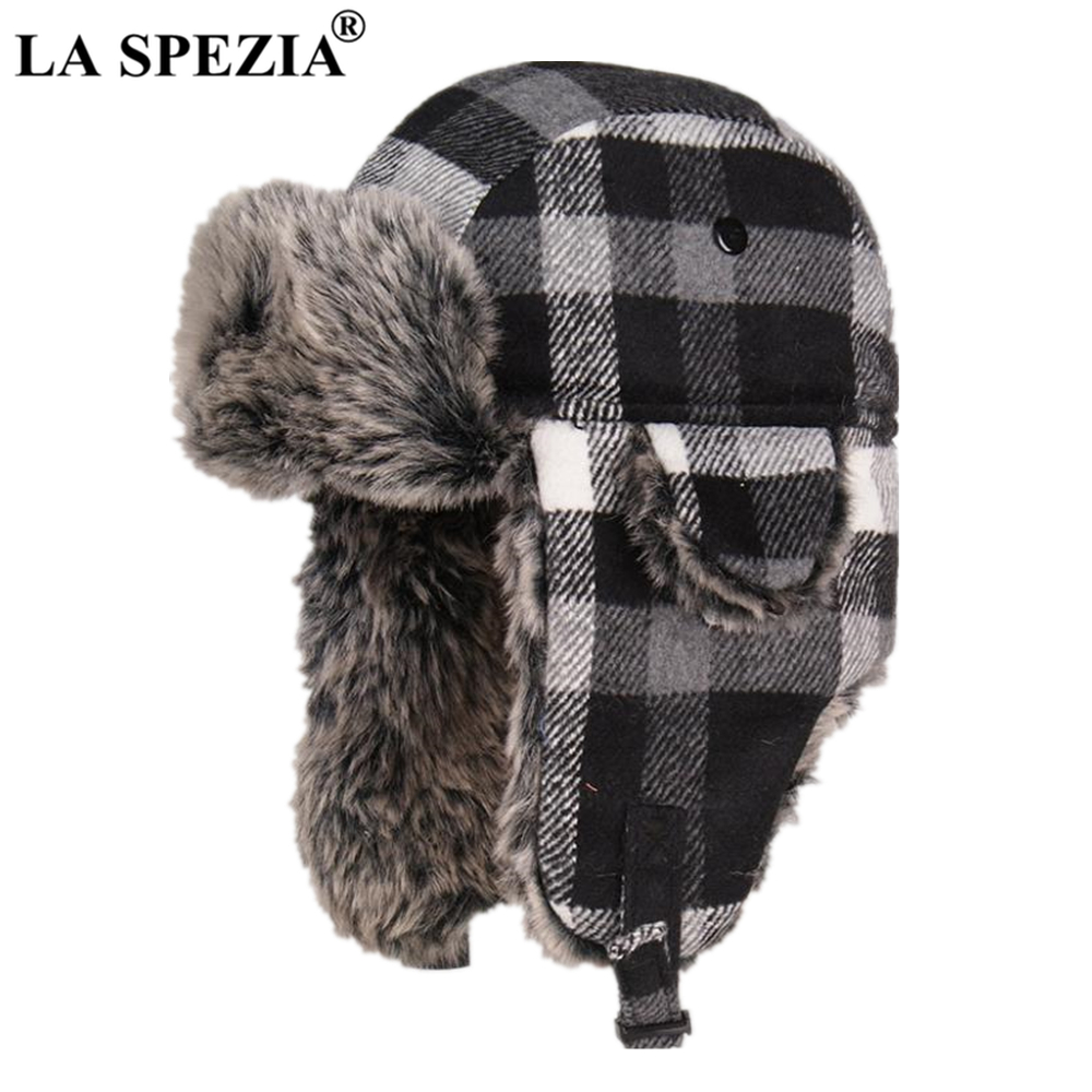 004d5fbe LA SPEZIA Ushanka Soviet Hat Women Men Russian Winter Bomber Hat Fur Black  White Plaid Earflap