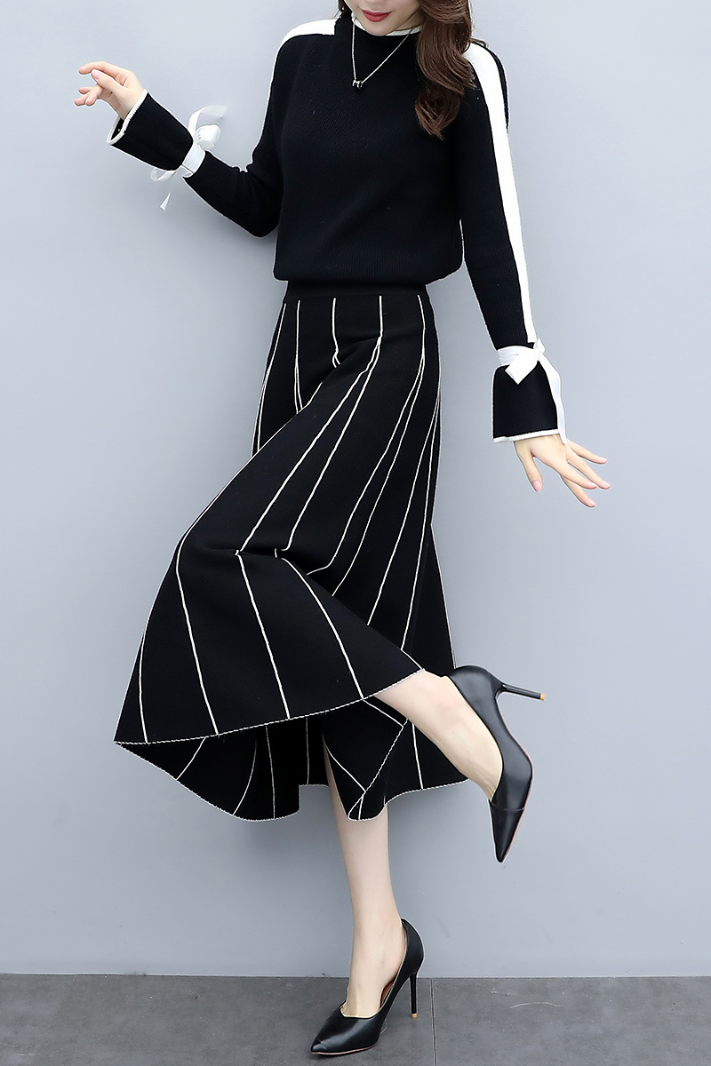 Plus Size Black Women Knitted Two Piece Sets Bow Tie Sweater And Long Skirt Suits Sets Winter Casual Elegant Vintage Ladies Sets 34