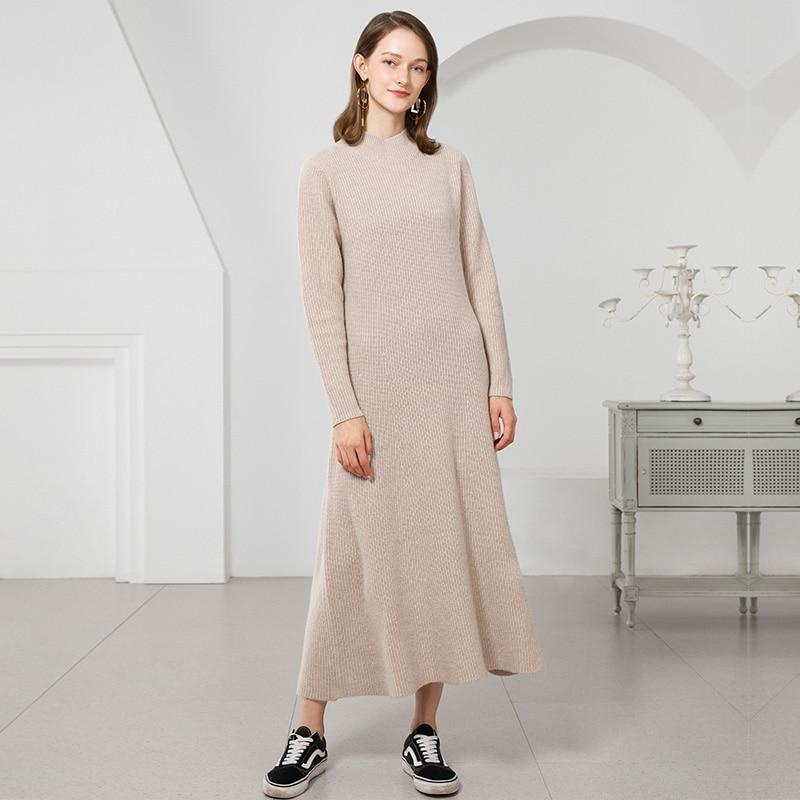 fd485e8b492 Detail Feedback Questions about Women Winter Knit Dresses 2018 New Warm  Long Sleeve 100% Pure Cashmere Women Dress Long Ladies Women Turtleneck  Dress ...