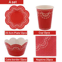 56Pcs/lot Pink Blue Lace Disposable Tableware Cups Plates Napkin Set For Birthday Party Wedding Dinner Supplies Kids Baby Shower