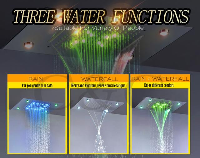 Luxusní sprchový set s dešťovou sprchou, vodopádem, silnějším proudem a LED podsvícením