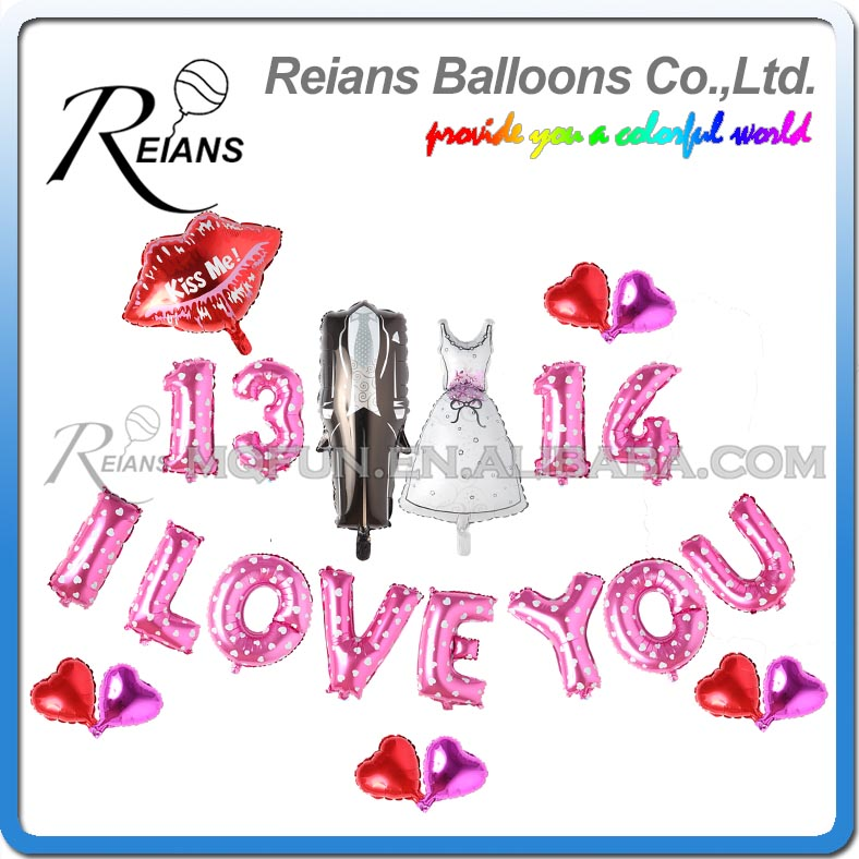 Reians Cartoon I LOVE YOU KISS ME WEDDING dress swallowtail Party Decoration Letter Number Helium Air Aluminum Foil Balloons Set