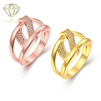 New Delicate AAA+ Cubic Zirconia Crystal /Rose Gold Color Unique Hollow Out Screw Rings Bridal Jewelry for Women Girls Party
