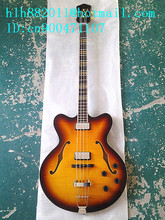 new Big John hollow 4 strings electric bass guitar with Ultra-thin mahogany body in sunburst made in China+free shipping F-1758