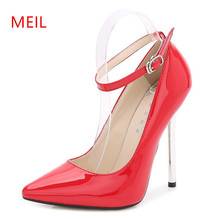 13cm Sexy High Heels Pumps Women Stiletto Heels Ladies Party Wedding Shoes Woman High Heel Strap Buckle D'Orsay Big Size 35-44 chic silvery pu t strap buckle style heels glittering crystal decorated pointy stiletto heel pumps gorgeous wedding glass shoes