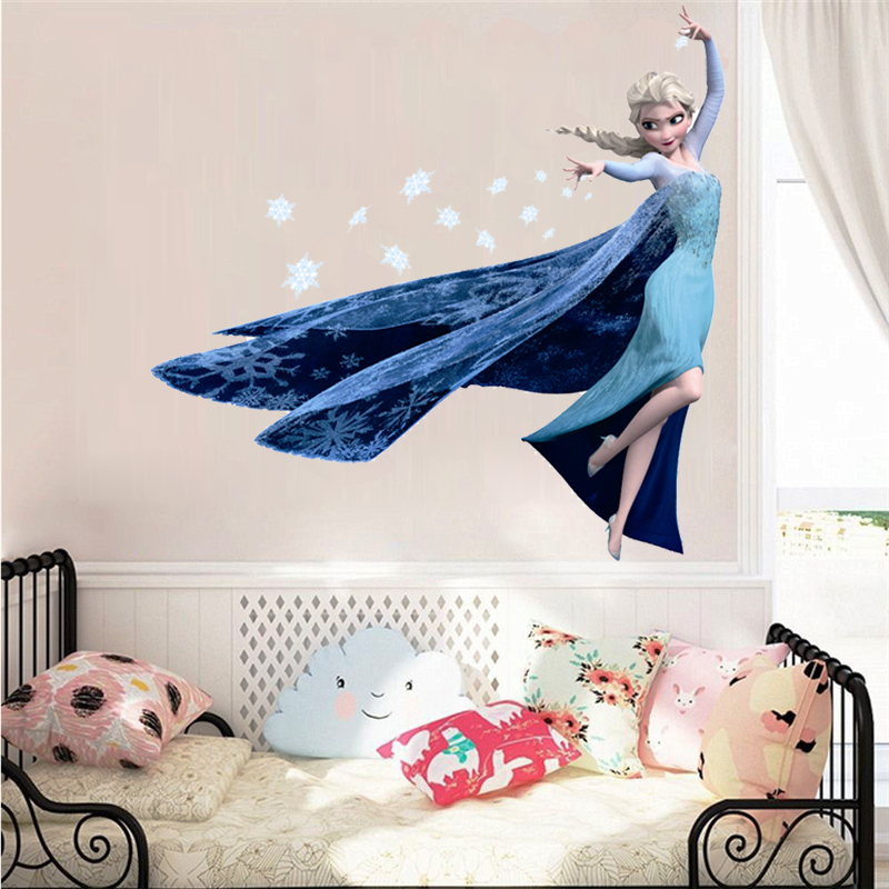 Cartoon Elsa Queen Snowflakes Wall Stickers For Kids Room Home Decoration Diy Girls Decals Anime Mural Art Frozen Movie Poster