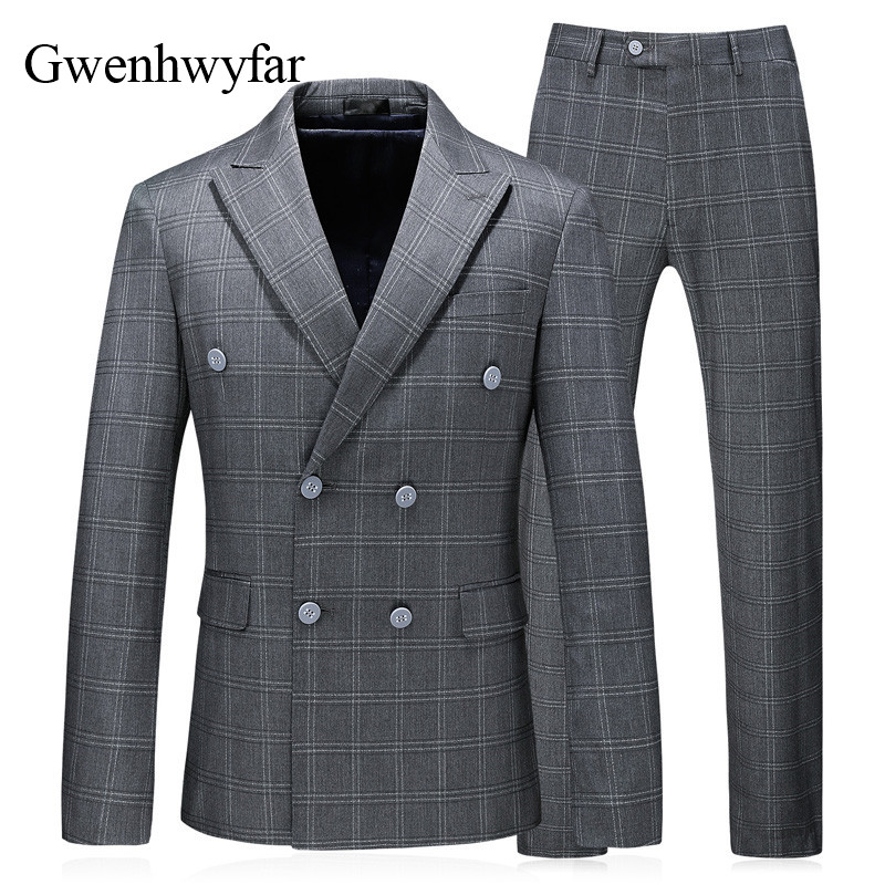 Gwenhwyfar 3 Pieces 2018 Men Suit Classic Grey Plaid Double Breasted Wedding Suits For Men Slim Fit Coats England Male Tuxedos