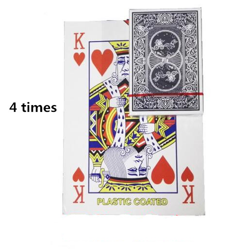 Retail free shipping 4 times size of the regular playing card family party entertainment big deck magic poker