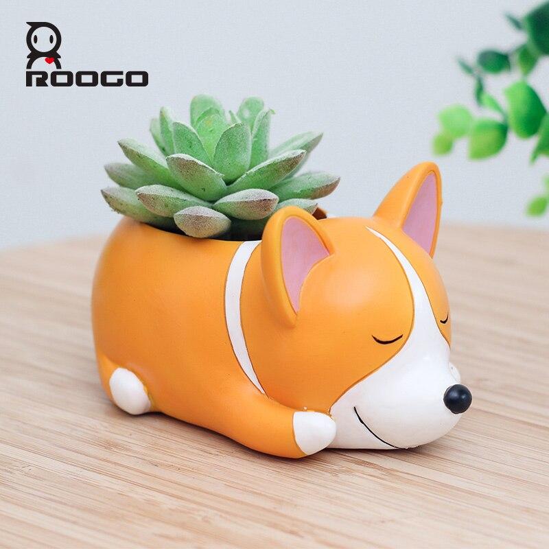 ROOGO Regalo Creativo Animali di Design Succulente Vasi di Fiori Corgi Dog Giardino Decorazione Arte E Mestieri Micro Paesaggio Fioriera