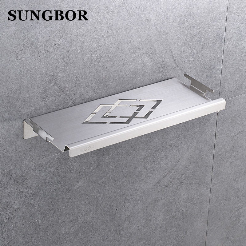 Bathroom Shower Shelf Stainless Steel 33 Cm Caddy Bath Kitchen Floating 1 8 Mm Extra Thick Brushed Zg 17064l In Shelves From Home