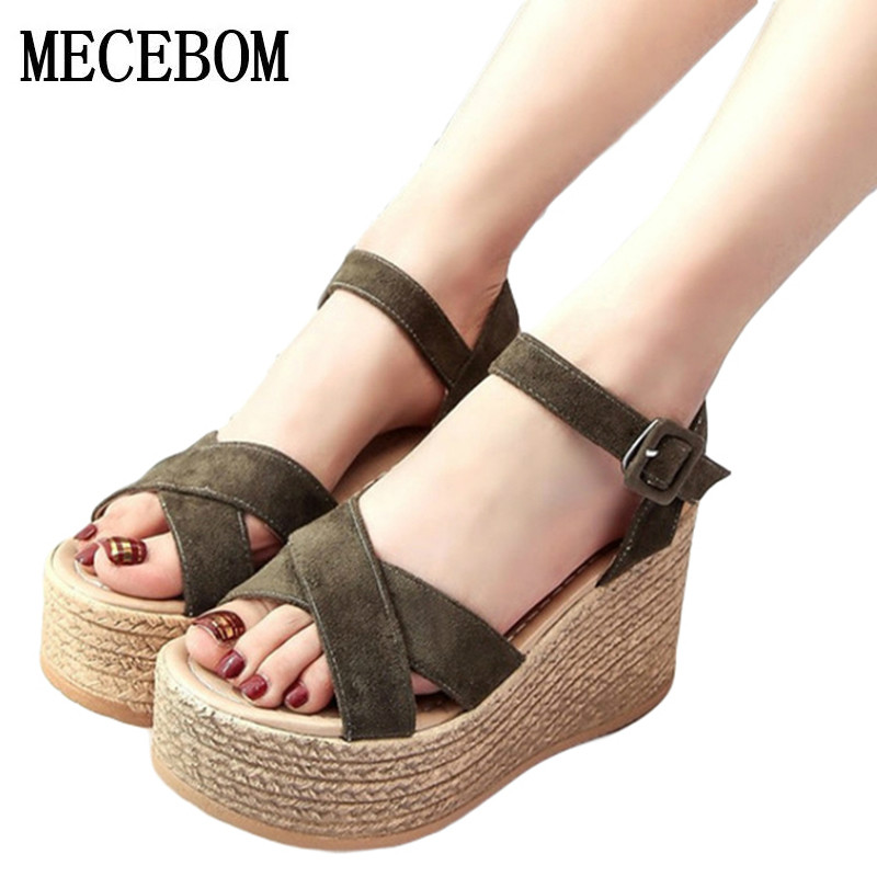 2017 Suede Gladiator Sandals Platform Wedges Summer Creepers Casual Buckle Shoes Woman Sexy Fashion beige High Heels K13W phyanic 2017 gladiator sandals gold silver shoes woman summer platform wedges glitters creepers casual women shoes phy3323