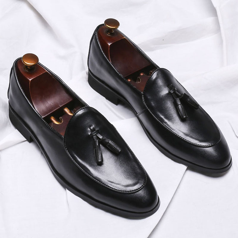 DESAI Luxury Men Genuine Leather Loafers Retro Tassel Shoes Elegant Dress Shoe Simple Slip On Man Casual Comfort Flat Footwear