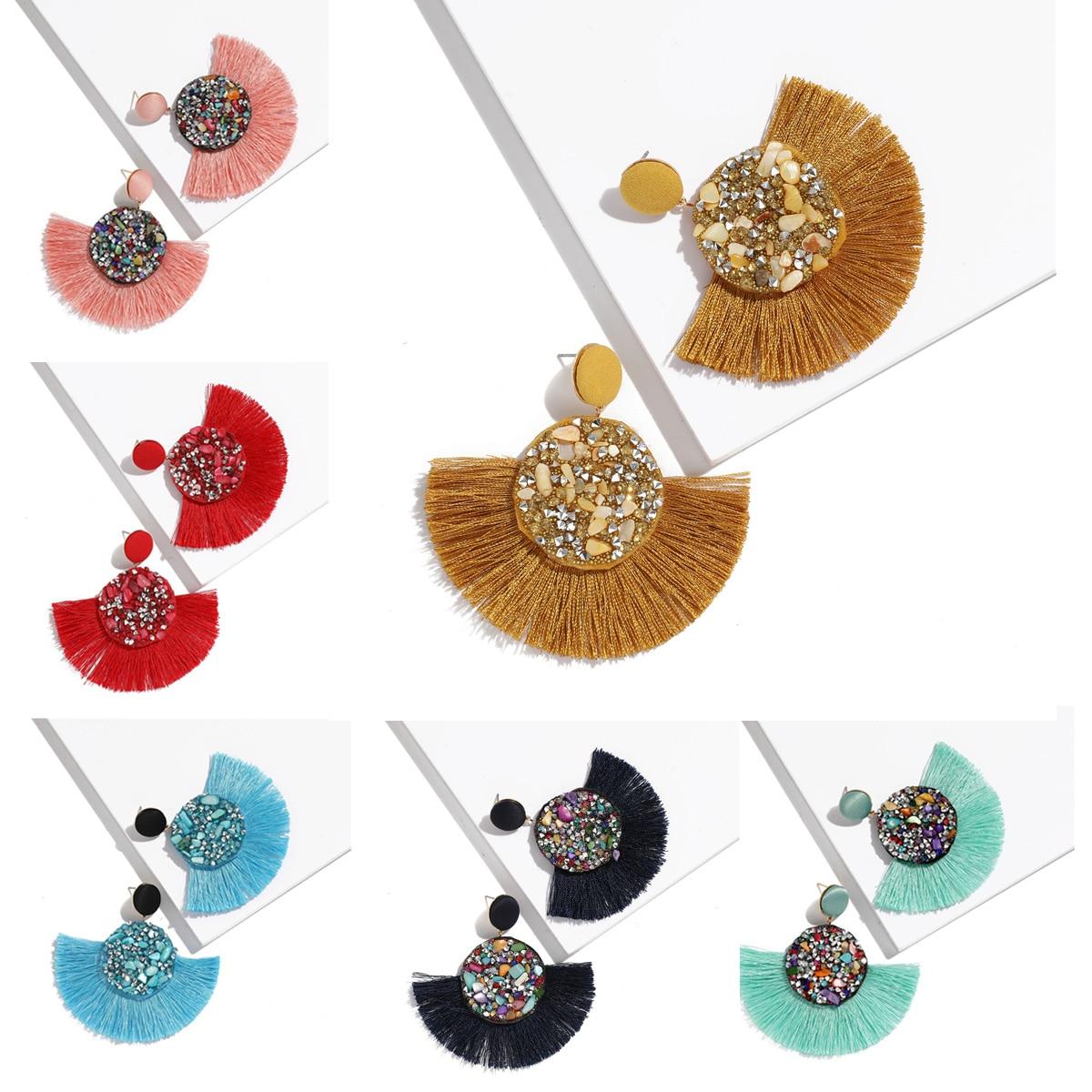 2019 Tassel Earrings Bohemian Colors Crystal Stone Statement Luxury Dangle Earrings Geometric Fringe Pendientes Oorbellen Women