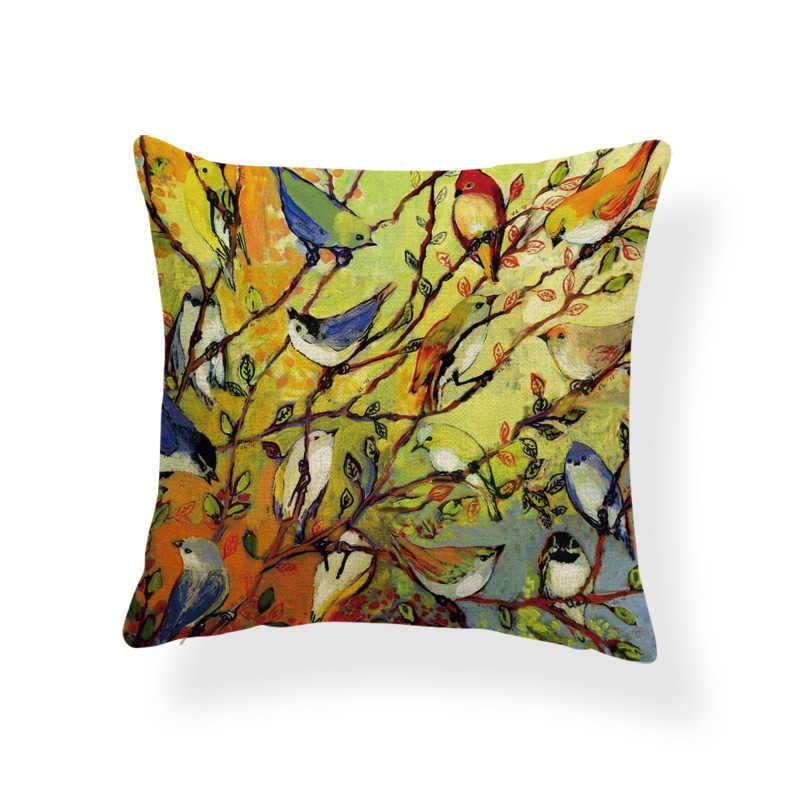 Животного птица чехлы сорока хризантемы коричневый наволочки желтые потертый шик, декоратор BlueThrow Подушка приклад