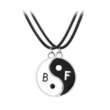 Best Friend For 2 Pcs BBF Yin Yang puzzle Pendant Necklace Black White Couple Sister Friendship Jewelry Personalized Gifts