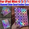 Para ipad mini 4/3/2/1 brillo de diamante de moda de lujo de cuero elegante case stand case para ipad mini 4 + pantalla de la película sin: IM305