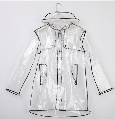 Black side PVC Transparent Raincoat Men And Women Poncho Raincoat Kids Long Coat Raincoat Travel raincoat