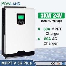 MPPT falownik solarny 3000W 24V 220V 60A inwerter Off Grid 3Kva moc czysta fala sinusoidalna przetwornica ładowarka solarna 60A ładowarka baterii