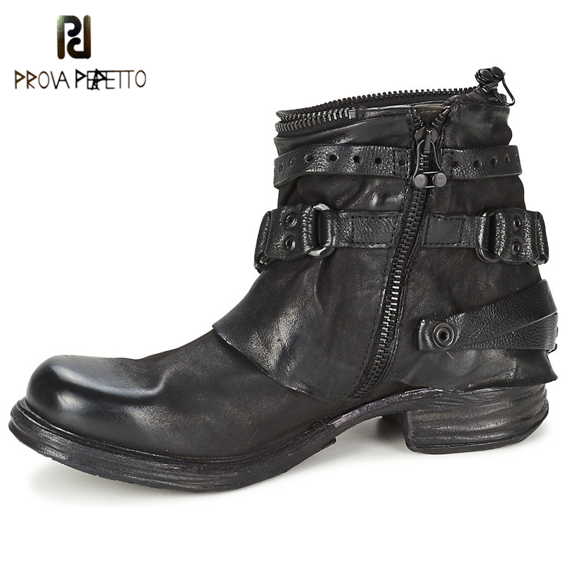 Prova Perfetto Original Retro England Style Real Leather Martin Ankle Boots Flat Square Heel Buckle Rivet Women Motorcycle Boots women martin boots 2017 autumn winter punk style shoes female genuine leather rivet retro black buckle motorcycle ankle booties