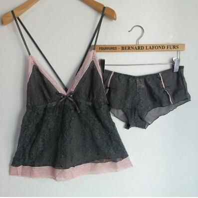 Yomrzl Sexy del cordón del recorte ropa de dormir de mujer correa de espagueti fino camisón pijama pijama pijama conjunto M368