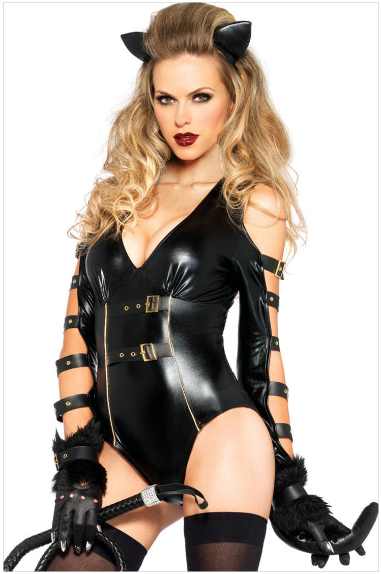 women fetish faux leather catsuit sexy cat costume halloween cosplay lingerie sexy punk gothic pu leather - Fetish Halloween