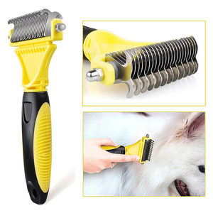 Image 3 - HSWLL New Stainless Double sided Pet Cat Dog Comb Brush Professional Large Dogs Open Knot Rake Knife Pet Grooming Products