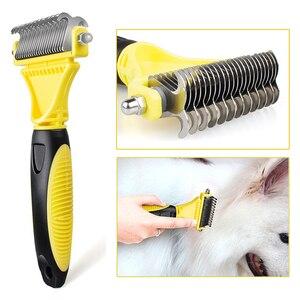 Image 3 - Hswll novo inoxidável dupla face pet gato cão pente escova profissional grande cães aberto nó ancinho faca pet grooming produtos