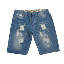 New Fashion Hip Hop Men's Denim Shorts Pants Summer Ripped Shorts Jeans Hole Slim Destroyed Knee Length Male Shorts Jeans sokotoo men s fashion slim fit bib overalls male holes ripped jeans knee length capri shorts for man free shipping