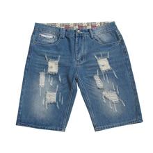 New Fashion Hip Hop Men's Denim Shorts Pants Summer Ripped Shorts Jeans Hole Slim Destroyed Knee Length Male Shorts Jeans