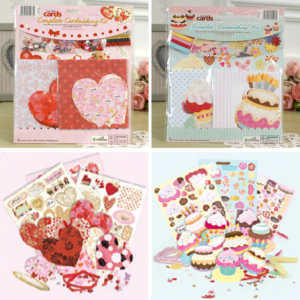 ENO Greeting Heart Birthday Complete Cardmaking Kit 10 Cards and 10 Envelopes Heart/Cake Kids Birthday Card Kit