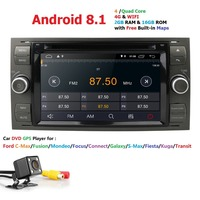 Pure Android 8.1 Black Silver Car DVD GPS Navi Player Stereo Radio Audio 4G For Ford Focus 2 Mondeo S C Max Fiesta Galaxy Camera