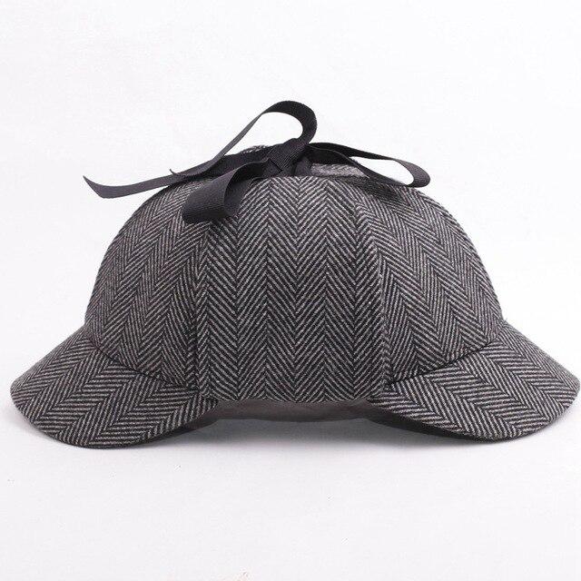 Hot Selling Sherlock Holmes Hat Deerstalker Tweed Cap Movie Cosplay Costume  Detective Earflap Unisex Flat Caps ae153e2906fe