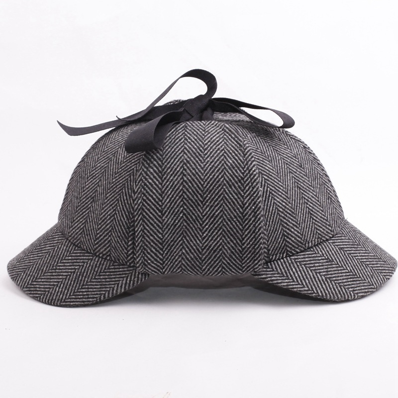 Hotselling Sherlock Holmes Detective Baseball Hat Vintage Deerstalker Unisex Cap Two Brims Strip Big Small Size Earflap Hat Cap showersmile brand sherlock holmes detective hat unisex cosplay accessories men women child two brims baseball cap deerstalker