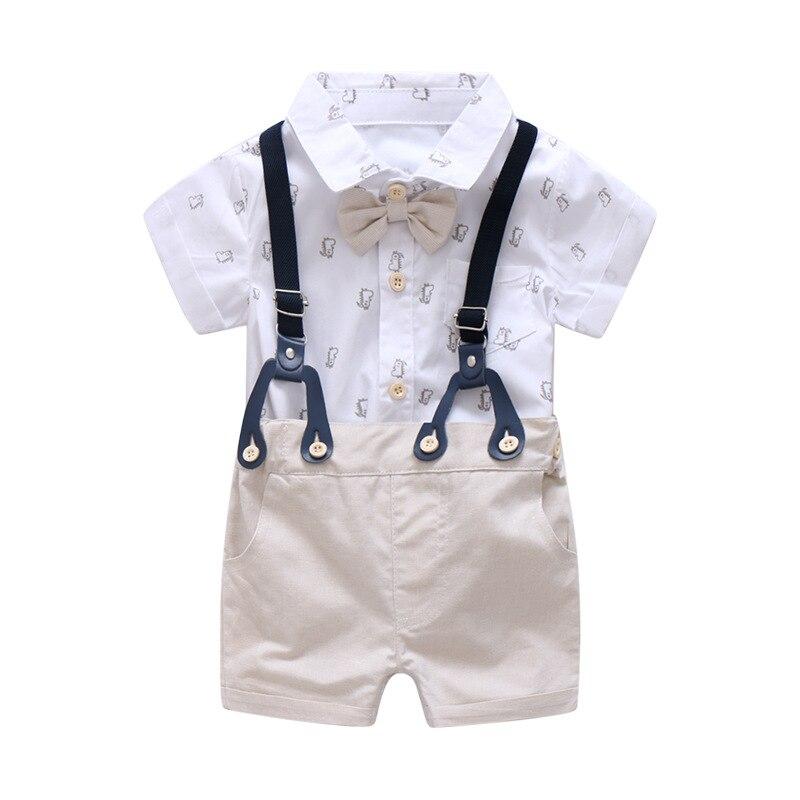 0-24 M Pasgeboren Kleding Set Formele Pak Voor Baby Boy Kleding Set Zachte Korte Mouw Romper + Kaki Shorts Jongens Overalls Pak Kinderen Uitstekende Eigenschappen