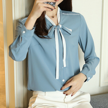 2017 new  Women Blouses blue and White Long Sleeve Womens Tops Ladies Shirts Autumn Bow Tie Front Elegant Blouse blusas 883B