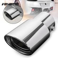 VEHEMO Chrome Silver Accessories Automobile Tail Pipe Tail Throat Exhaust Pipe Tail Muffler Auto Replacement Rear Round