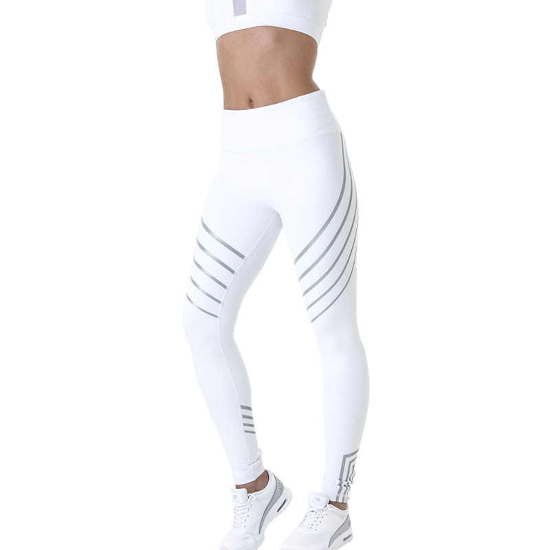 Noctiluceグローイング弾性タイツスポーツ女性フィットネス反射パンツストライプスリムシームレスワークアウト圧縮レギンス