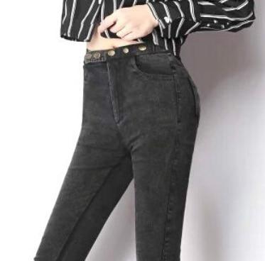 new womens spring autumn plus size elastic waist denim jeans women decorative metal buckle Slim pencil