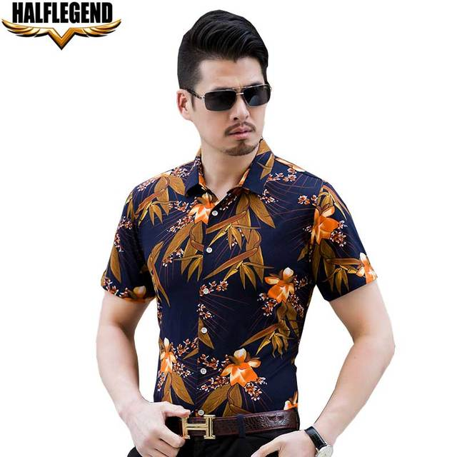 02a7ec3dd79 HALFLEGEND 2018 Summer Men Men s Tops Short Sleeve Shirt Floral Hawaii  Flower Printed Casual Beach Hawaiian Shirts Male Blouse