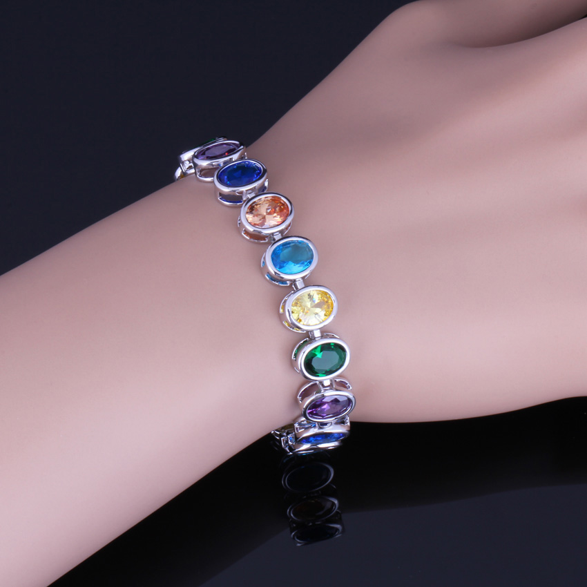 Alluring Oval Egg Multigem Multicolor Brown Cubic Zirconia 925 Sterling Silver Link Chain Bracelet 20cm 22cm For Women V0229 in Bangles from Jewelry Accessories