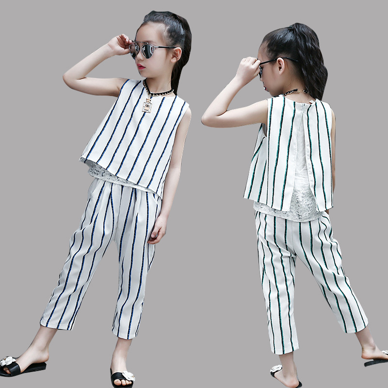 Teenage Clothes Sets for Girls Summer Stripe Clothing Sets for Kids 2Pcs Outfits Children Lace Vest & Pants Suits 10 12 14 Years цена