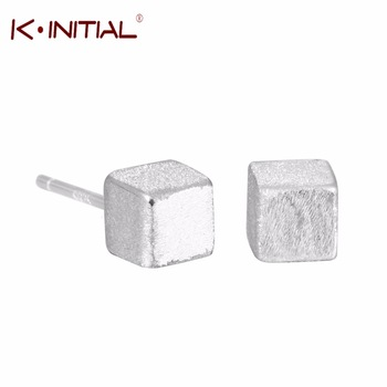 1pair 925 Silver Geometric Square Stud Earrings For Women Casual Girl Prevent Allergy Sterling-silver-jewelry Accessory Jewelry