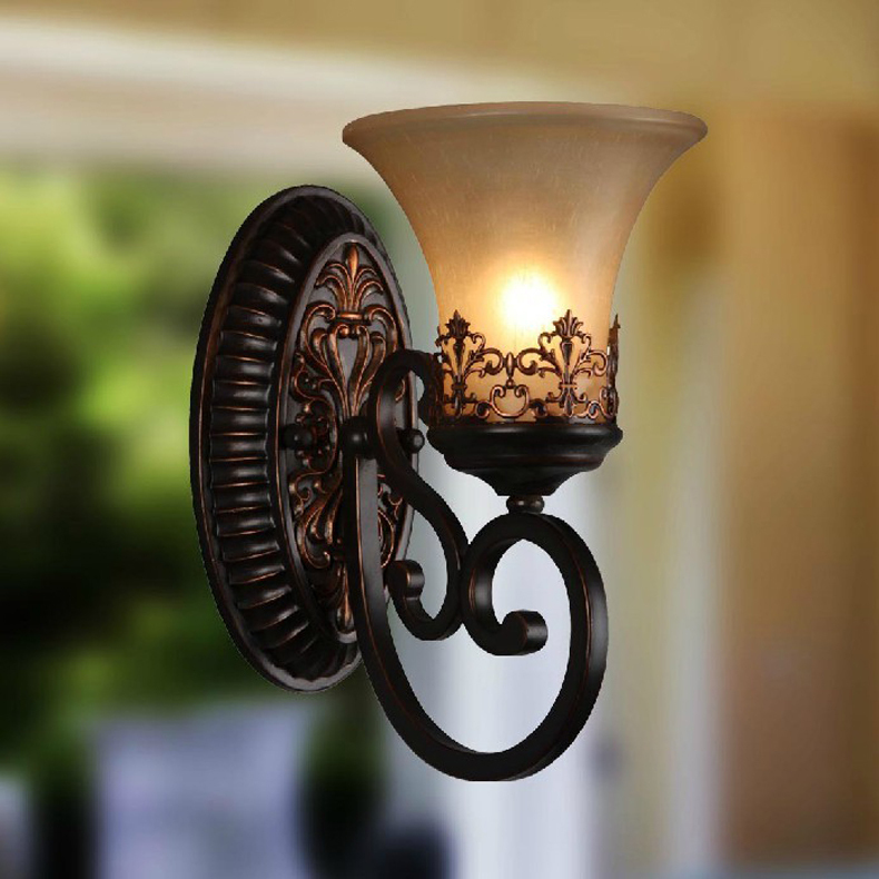 Ecolight Free Shipping Vintage Country  Wall Lamps 1 Light E27 Black Acrylic Backplate Opal Glass Bed Living Room Wall sconces 1 piece free shipping anodizing aluminium amplifiers black wall mounted distribution case 80x234x250mm